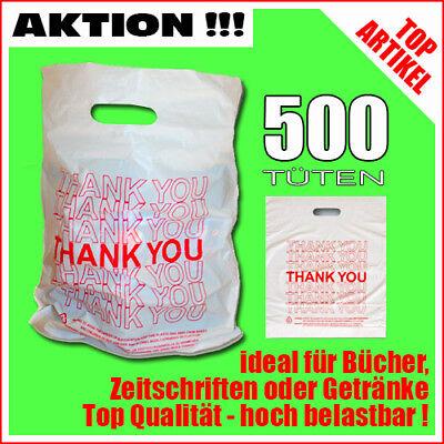 500 Plastiktüten Einkaufstüten Tragetaschen weiß mit rot Thank You stabil