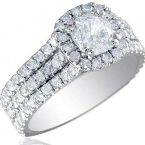 GIA Certified Diamond Engagement Ring 2.32 carat total 18k White Gold
