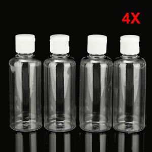 4x 100ml Plastic Clear Bottle Travel Lotion Liquid Shampoo Makeup Container TL