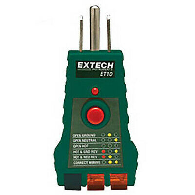 Extech Et10 Gfci Receptacle Tester And For Faulty Wiring In 3-wire Receptacles