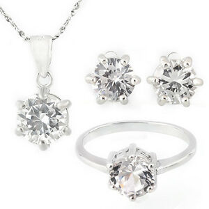 White Sapphire 925 Sterling Silver Necklace, Earrings, Ring Set