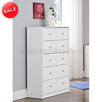 كومودينو جديد Bedroom Storage Dresser Chest 5 Drawer Modern Wood Furniture White