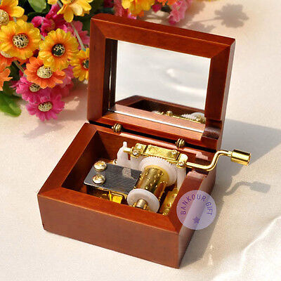 """Play """"Canon in D"""" Melody Hand Crank Music Box With Sankyo Musical Movement"""