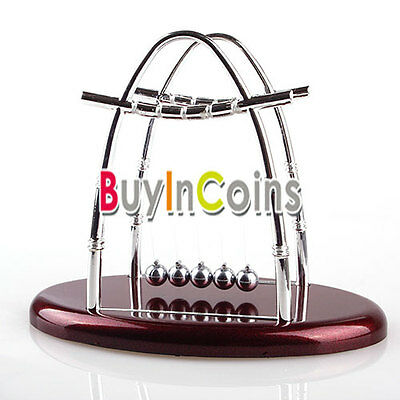Newtons Cradle Balance Ball Physics Science Fun Desk Toy Accessory Gift Pop New