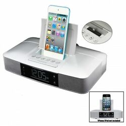 IPHONE 5 5s 6 6s 7 IPOD ALARM Clock FM Radio with Lightning Dock SILVER *NEW*