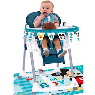 MICKEY MOUSE Fun to Be One HIGH CHAIR DECORATING KIT ~ Birthday Party Supplies](Mickey Mouse High Chair Decorations)