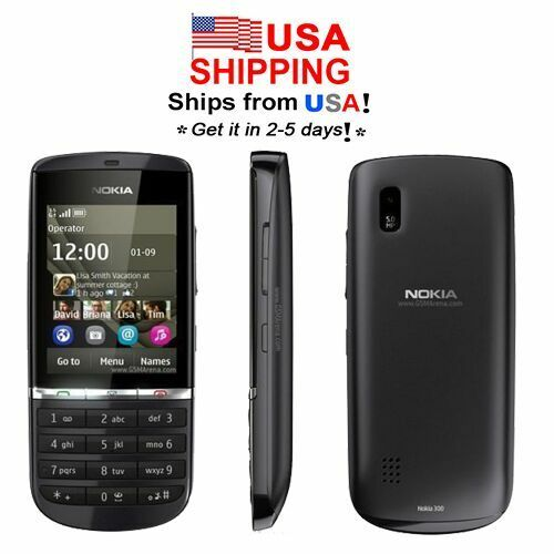 USA Nokia Asha 300 3G Touch & Type 5.0MP Camera CellPhone Grey 1 year warranty