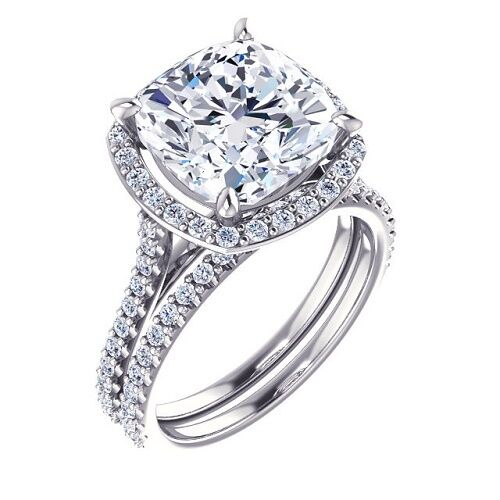 NEW 1.83 Ct Cushion Cut Halo Diamond Engagement Bridal Set H, VVS1 U-Setting GIA