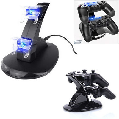 Dual Wireless Controller USB Charger Charging Dock Station Blue LED For Sony PS3