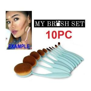 NEW 10PC OVAL MAKEUP BRUSH SET 167266166 1 SET CONTAINS 10 BRUSHES BABY BLUE COSMETICS APPLICATION TOOLS