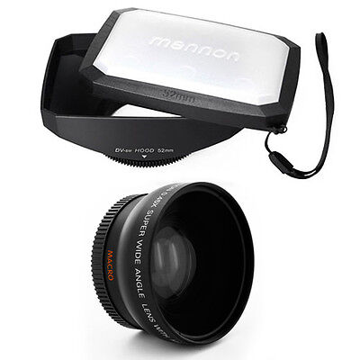 Wide Angle Lens + Macro,16:9 Hood for CANON VIXIA HF G20 G30,All 58mm camcorders