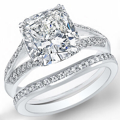 1.90 Ct Cushion Cut Diamond Split Shank Engagement Ring & Matching Band F,IF GIA