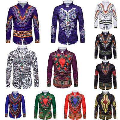 - Men African Tribal Shirt Dashiki Print Succinct Hippie Top Blouse Clothing