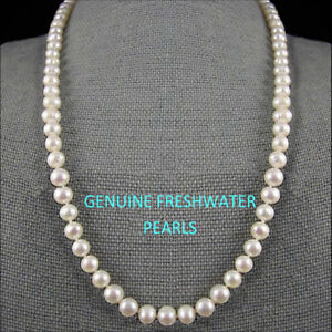 Genuine Freshwater White Pearl Necklace