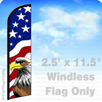 Usa Eagle - Windless Swooper Feather Flag American Banner Sign 2.5x11.5 - F