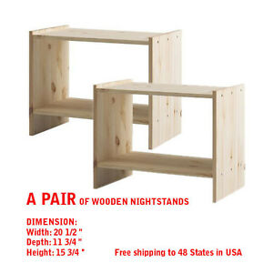 Nightstand table bed side tables solid wood wooden pine for Ikea solid wood nightstand