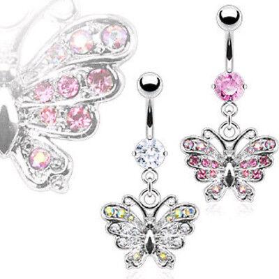 Sparkle Butterfly Paved CZ Gem Dangle Belly Ring Navel Clear/AB, Pink/AB Clear Gem Dangle Belly Ring