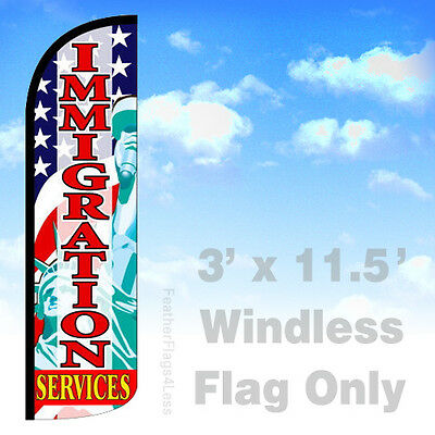 Immigration Services - Windless Swooper Flag 3x11.5 Feather Banner Sign - Q