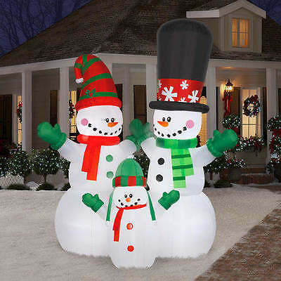12 Ft Led Holiday Christmas Outdoor Snowman Family Inflatable Light Yard Decor