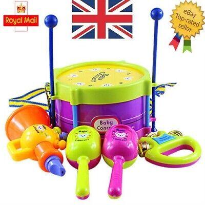 5Pcs/Set Baby Boy Girl Drum Musical Instruments Drum Set Children Toys UK
