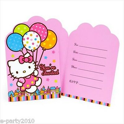 Hello Kitty Birthday Party Invitations - HELLO KITTY Balloon Dream INVITATIONS (8) ~ Birthday Party Supplies Stationery