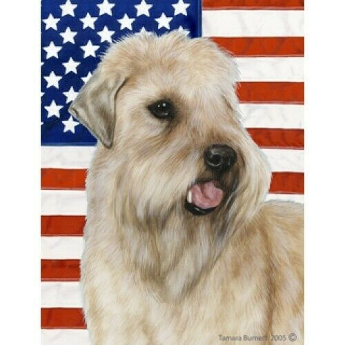 Patriotic (D2) House Flag - Wheaten Terrier 32056