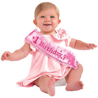 1st BIRTHDAY Girl DELUXE SASH ~ First Party Supplies Favor Accessory Pink Baby Baby 1st Birthday Party Supplies