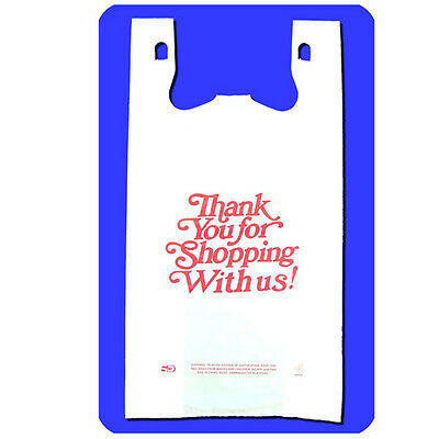 White - Large Size- Thank You For Shopping With Us Carry Out Bags - 500 Pcs