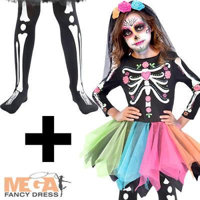 Sugar Skull + Tights Girls Fancy Dress Halloween Skeleton Childrens Kids - Sugar Skull Kid Kostüm