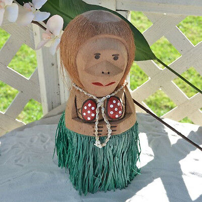 Coconut Monkey Mama with Shell Necklace Figurine for Luau Hawaiian Party Decor - Coconut Decorations For Parties