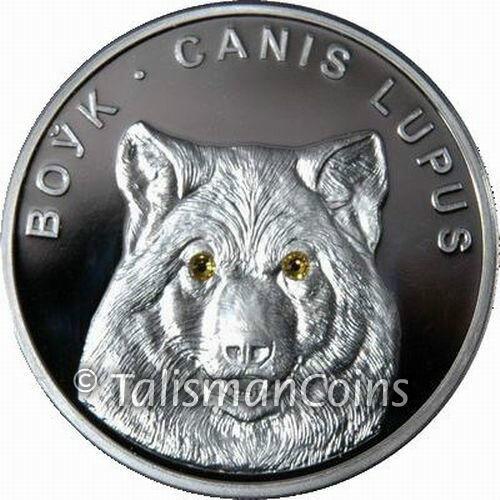 Belarus 2007 Lone Wolf 20 Rubles Pure Silver Proof w/ Golden Swarovski Crystals