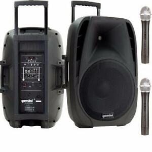 "Gemini ES15TOGO 15"" Powered Speaker with Wireless Mics and Battery"