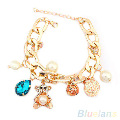 WOMENS CUTE CRYSTAL BEAR HAND CHAIN BRACELET EXQUISITE PEARL COIN CHARM BANGLE
