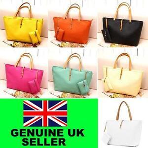 Fashion-Womens-Classic-PU-leather-Tote-Bag-Handbag-Purse-Zip-Shopping-Woman-New