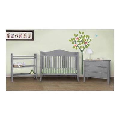 Baby Mod Bella Crib and 3 Drawer Dresser Set with BONUS Changing Table, Grey