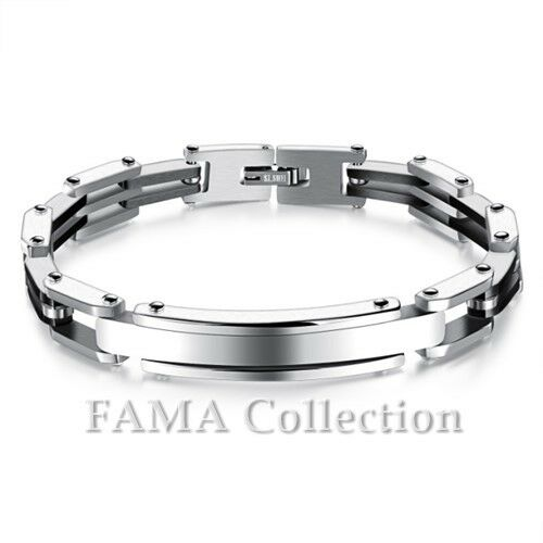 Quality FAMA Black IP Stainless Steel Square Links Bracelet Select Colour