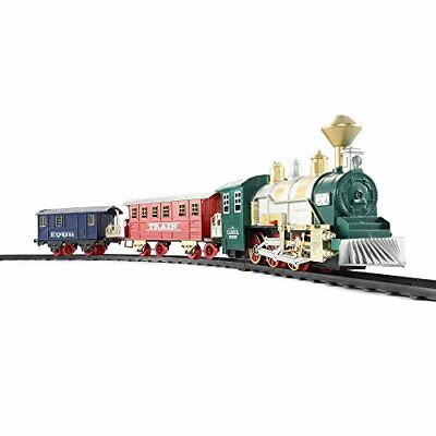 Classic Toy Train Set with Realistic Smoke & Sounds 3 Cars 13pcs