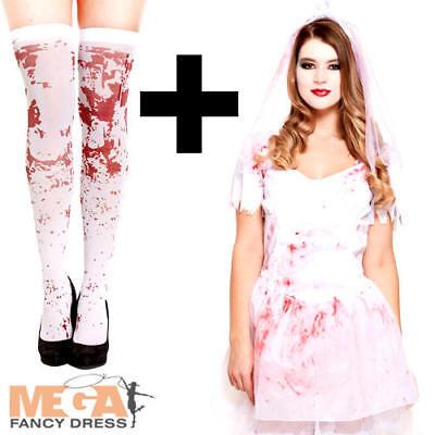 Bloody Bride Ladies Fancy Dress Dead Wedding Adult Halloween Costume + - Bloody Bride Costume Halloween