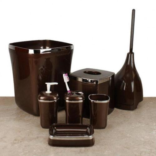 Brown bath accessories ebay for Brown and white bathroom accessories