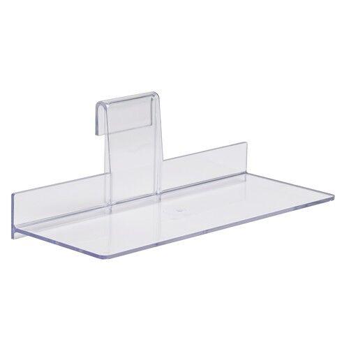 "Gridwall Shoe Shelf 4"" x 10"" Display Flat Styrene Clear Acrylic - 12 pcs"