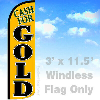 Cash For Gold Windless Swooper Feather Flag Banner Sign 3x11.5 - Yq