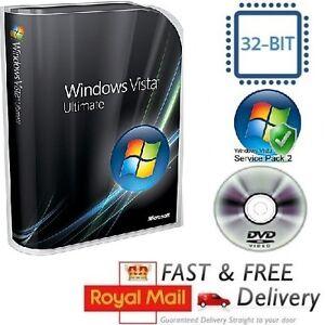 Windows Vista Ultimate 32-bit SP2 Full Version & License COA Product Key on DVD