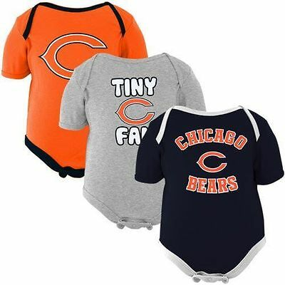 Chicago Bears Nfl Infant Baby 3 Pack Tiny Fan Creeper One Piece  Set Orange Blue