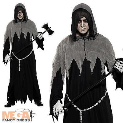 Death Grim Reaper + Axe + Facepaint Halloween Fancy Dress Mens Adult Costume (Death Face Paint Halloween)