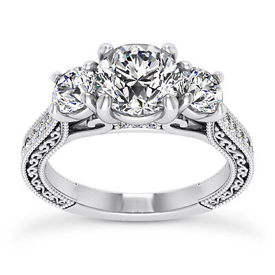 GIA 2.01 CT Round Cut Diamond Engagement Ring VS2 E 14K White Gold 3