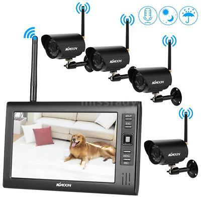 """Funk Außen 4 Überwachungskamera System Set mit 7"""" Kabellos 4-Kanal Monitor DVR G"""