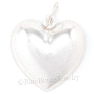 Puffed Puffy Plain HEART Charm Pendant 925 STERLING SILVER 1/2 HALF of a Heart
