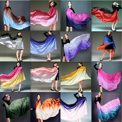 Colorful Gradient Women Silk Scarf Shawl Belly Dance Waving Scarf Veil - Dance Scarves