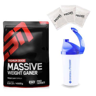 9,24€/kg ESN Massive Mass Weight Gainer 4000g Beutel + Shaker + 3 Proben - Massive Weight Gainer