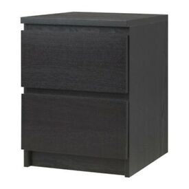 Malm Ikea bedside table in darkbrown